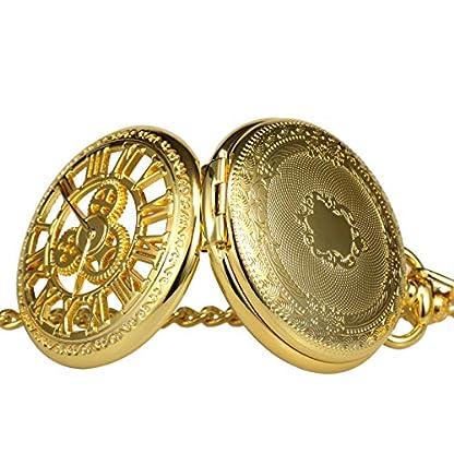 TREEWETO-Taschenuhr-mit-Kette-Herren-Analog-Handaufzug-Doppelscharnier-Antik-Zahnrad-Rmische-Ziffern-Bronze-Schwarz-Gold