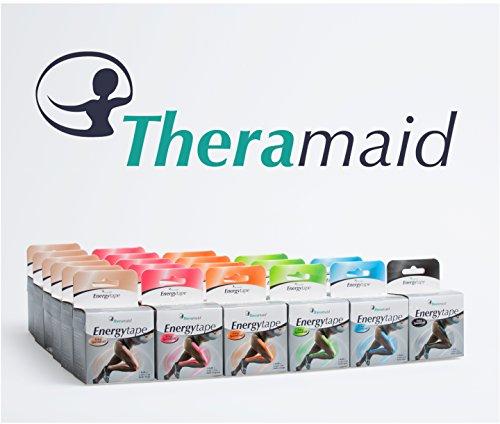 Theramaid Energytapes - Premium Sporttape mit 180% Dehnfähigkeit / 5cm x 5m, 100% Viskose, Kineseologie - Physiotherapie-Tape, verschiedene Farben, wasserfest (orange)