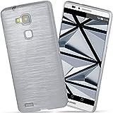 moex Huawei Mate 7 | Hülle Silikon Silber Brushed Back-Cover TPU Schutzhülle Ultra-Slim Handyhülle für Huawei Ascend Mate 7 Case Dünn Silikonhülle Rückseite Tasche