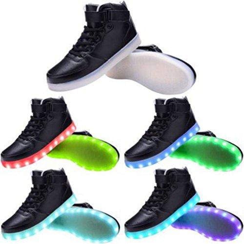 [Presente:piccolo asciugamano]JUNGLEST® , 7 colori alla moda, unisex, da uomo, donna, carica USB luminosi LED lampeggianti Scarpe da camminata Scarpe Sport nero - noir 1