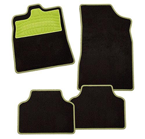 CarFashion 239768Colori Apfelgrün AM1, Auto Fussmatte in schwarz, Automatten, grüner Trittschutz, grüne Hochglanz Kettelung, Auto Fussmatten Set ohne Mattenhalter