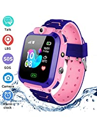 Kids Waterproof Smart Watch Phone,LBS Tracker SOS Voice Chat Smartwatch Games Camera Flashlight Smart Watch Christmas Birthday Gifts for School Boy Girls(Pink)