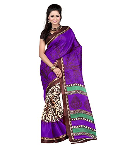 Women's Clothing Saree Designer Party Wear Buy Online in Low Price Sale Offers Purple Color Art Silk Fabric Free Size Sari With Unstitched Blouse  available at amazon for Rs.259