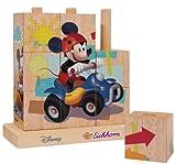 Geschenkidee Spielzeug - Eichhorn 100003303 - Mickey Mouse Holz Bilderwürfel-Puzzle - 9 teilig mit 4 Motiven zum Stecken - 14x14cm
