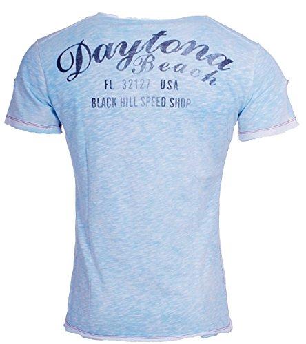 Key Largo Herren vintage used destroyed Look T-Shirt Daytona tiefer V-Ausschnitt deep v-neck slim fit USA Amerika Print T00648 Blau