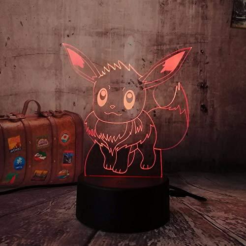 1 paket, 3d für pokemon gehen spiel, c eevee rc usb spielzeug nachtlicht action led spielzeug lampe 7 bunte ändern kind geschenk geburtstag halloween weihnachten lampe