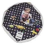 2 in 1 materassino da gioco per bambini - Sacchetto portaoggetti giocattolo, tappetini in cotone per bambini, grande tappetino da gioco con coulisse per giocattoli(C)