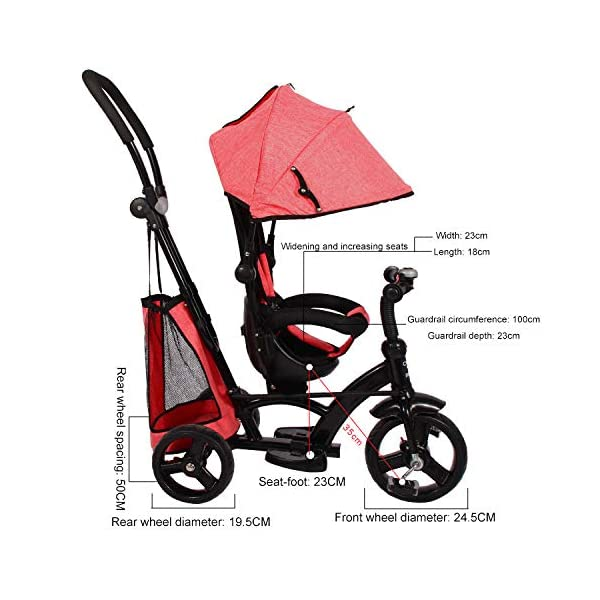 BGHKFF 4 In 1 Children's Hand Push Tricycle 1 To 6 Years 360° Swivelling Saddle 5-Point Safety Belt Children's Pedal Tricycle Adjustable Handle Bar Childrens Tricycles Maximum Weight 25 Kg,Red  ★Material: High carbon steel frame, suitable for children aged 1-6, maximum weight 25 kg ★ 4 in 1 multi-function: can be converted into a stroller and a tricycle. Remove the hand putter and awning, and the guardrail as a tricycle. ★Safety design: Golden triangle structure, safe and stable; front wheel clutch, will not hit the baby's foot; 5-point seat belt + guardrail; rear wheel double brake 5