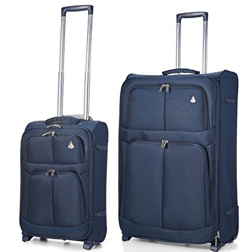 Aerolite Leichtgewicht 2 Rollen Trolley Koffer Reisekoffer Gepäck 2 Teilig Kofferset Gepäck-Set , 55x35x20 Handgepäck + 68cm , Marineblau (Gepäck Airlines American)