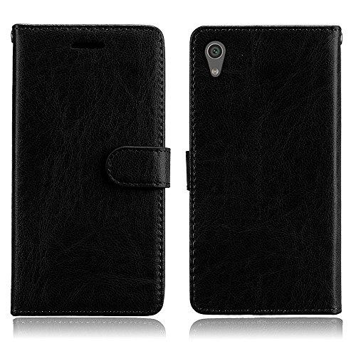 Cozy Hut Sony Xperia XA1 Hülle Case Premium PU Leder Schutztasche [3 Card Slots Wallet Case] [Magnetverschluss] [Standfunktion] Handyhüllen Für Sony Xperia XA1 - Reines Schwarz