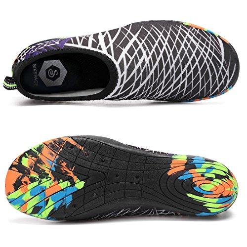 Sixspace Badeschuhe Strandschuhe Wasserschuhe Aquaschuhe Schwimmschuhe Barfuß Schuhe für Damen Herren Weiß