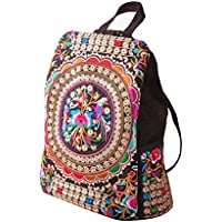 LUOEM Estilo del bordado de la lona del bordado del estilo étnico de las muchachas de las mujeres bolsos del bolso del viaje de la mochila