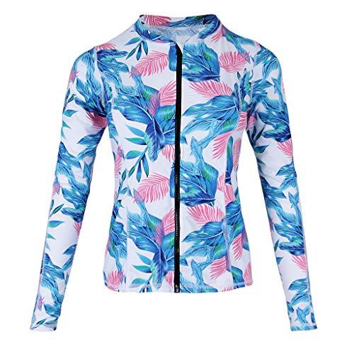 F Fityle Damen Schwimmshirt Langarm UV Shirt Rash Guard Badeshirt Bademode Strand Surf Badeanzug - Hellblau, XXL