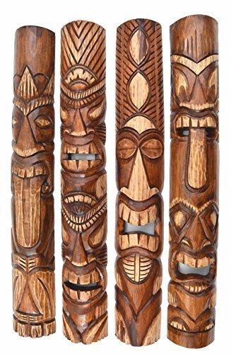 4 Tiki Masken 100cm im Hawaii Style Holzmaske Maske Osterinsel (Tiki Masken)