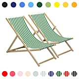 Ajustable Jardín/al estilo tradicional playa Hamaca - verde/blanco de la raya - Pack de 2
