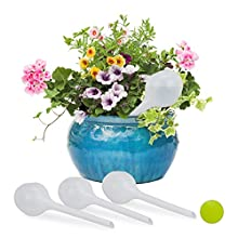 Relaxdays Bud Globes Set of 4, Regulated Irrigation, Office & Vacation Watering Aid, Ø 8 cm, Plastic, polypropylene, white/clear, One Size