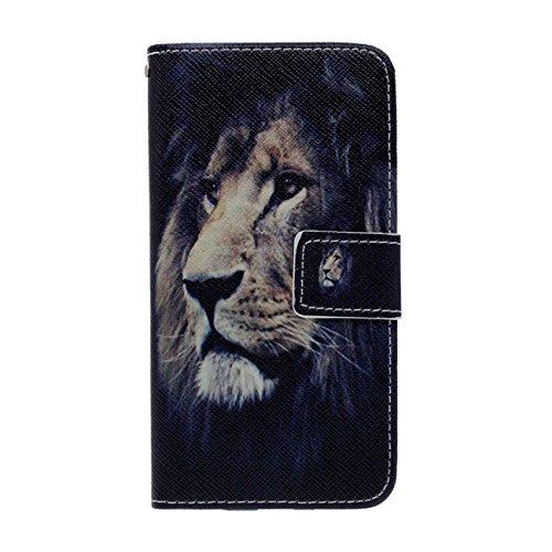 Wildes Tier Stil Muster ( Löwe ) Apple iPhone 6 Plus / 6S Plus 5.5 inch Hülle ( Schwarz ), Leder Brieftasche Weich PU Karte Halter Schutzhülle Handy Tasche Case Cover Antishock mit 1 Stylus-Stift schwarz