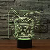 BFMBCHDJ Drum Set LED 3D Nachtlicht Remote Touch Bunte Tischlampe USB Nachtlicht Atmosphärenlampe für Kinder Dekoratives Geschenk