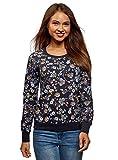 oodji Ultra Damen Bedrucktes Sweatshirt Basic, Blau, DE 38 / EU 40 / M