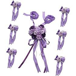 Set de Lazos de Flor para Boda o Decoración de Coche en color PURPURA - Más colores a elegir