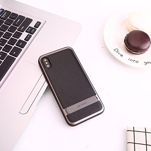 Étui iPhone X, série X-Doria Stander, cadre en aluminium, étui en cuir avec support caché pour Apple iPhone X - L'eau bleue rouge