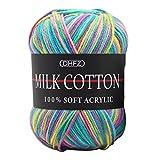Handstrickgarn, ,Baumwolle Standard 100 zertifizierte Wolle zum Stricken & Häkeln Strick Crochet Milk Soft Baby Baumwolle Wolle Garn 23 Farbe Häkelgarn Strickgarn (18)