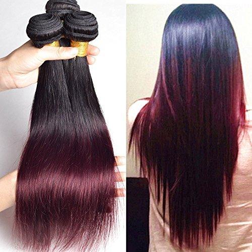 becret® Grade 7 A Ombre Extensions capillaires Cheveux brésiliens 3 lots droite 2 tons naturels non traités cheveux humains tissage 30,5 cm à 76,2 cm # 1b-99j couleur Lot de 3
