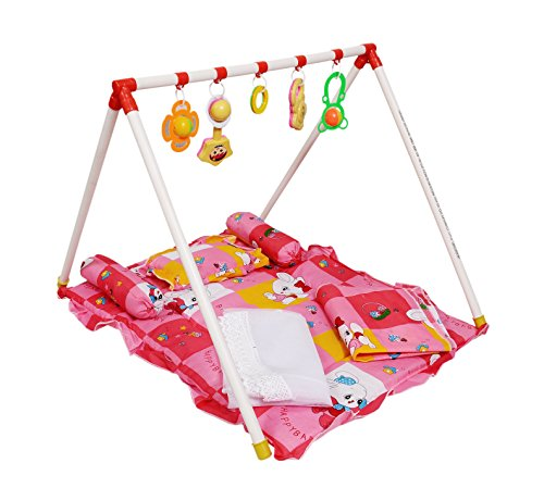 BabyGo Play Gym For Baby With Hanging Toys And Rattles Red