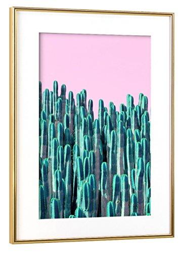 Wüste Umrahmt (artboxONE Poster mit Rahmen Gold 45x30 cm