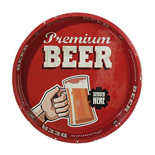 Bandeja de metal Vintage Style (redondo, aprox. 33cm Tray Retro Bandeja para servir # 1597, metal, Premium Beer, Durchmesser: ca. 33 cm, Höhe: ca. 4 cm