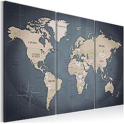 B&D XXL murando Impression sur Toile intissee 120x80 cm Tableau Tableaux Decoration Murale Photo Image Artistique Photographie Graphique 3 Parties Carte du Monde Continent Carte k-A-0058-b-h