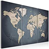 murando - Weltkarte Pinnwand 120x80 cm Bilder mit Kork Rückwand 3 Teilig Vlies Leinwandbild Korktafel Fertig Aufgespannt Wandbilder XXL Kunstdrucke Landkarte k-A-0058-p-h