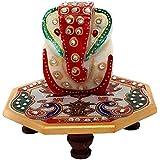 GiftNagri Handcrafted Kundan Meenakari Work 4 * 4 Inches Octa Angle Marble Chowki with Lord Ganesha
