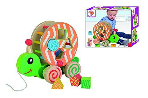 Eichhorn 100002231 - Eichhorn Color - Nachzieh-Stecktier, mit Bausteinen, 15x24x19cm, Holzspielzeug, mit Bewegung, ab 1 Jahr