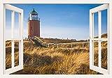 Artland Qualitätsbilder I Bild auf Leinwand Leinwandbilder Wandbilder 100 x 70 cm Architektur Gebäude Leuchtturm Foto Creme D2ZZ Leuchtfeuer Kampen Leuchtturm auf Sylt Fensterblick