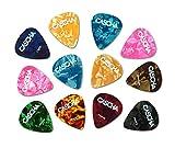 CASCHA 12 Plettri per chitarra, chitarra acustica classica, chitarra elettrica, ukulele, basso, pick set, accessori