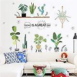 KLMQT Autocollant Mural Creative Jardin Vert Herbe Plante Stickers Muraux pour Salon Chambre Décoration De La Maison PVC Stickers Muraux Affiches Bricolage Mural Art