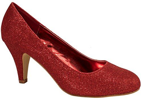 Elara Damen Pumps | Bequeme High Heels Glitzer | Hochzeit Stiletto 9373-E22108-Rot-38