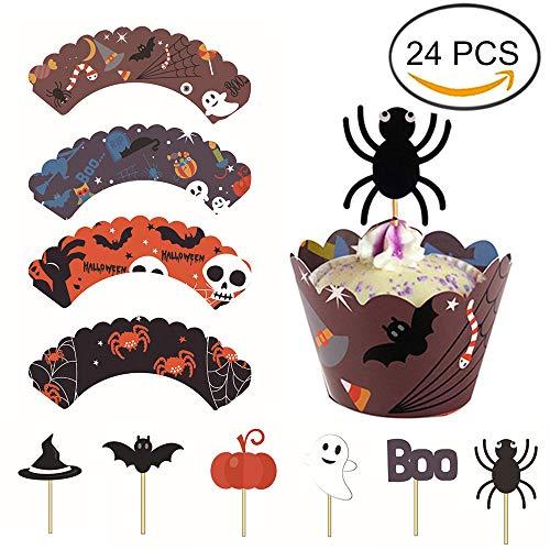 (FineInno 24 Stück Halloween Kuchendeckel Cupcake Topper und Wrappers Dekor Kuchen Verpackung Beidseitig Kuchen Picks Liner Backe Kuchen Papierbecher (24 Stück))