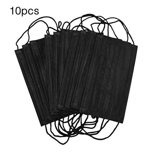 Teaio 10er Unisex schwarz Einweg weich Atmungsaktivität Earloop Gesichtsmasken ()