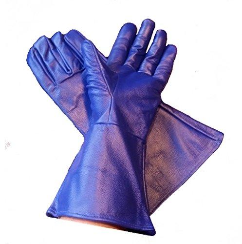 Leather Mystics Leder Stulpenhandschuhe Blau 3X Große (XXX Large)