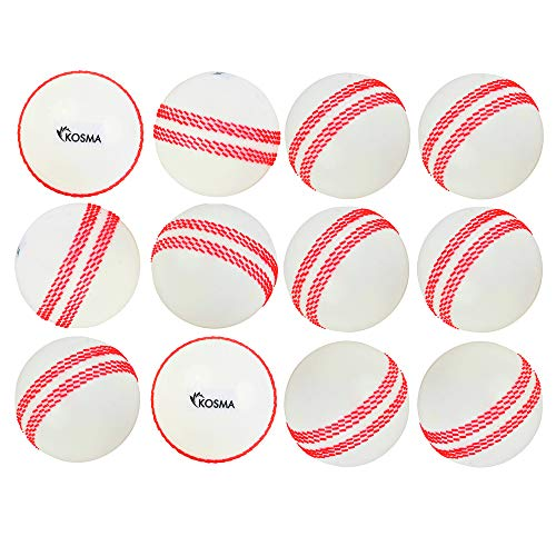 Kosma Set von 12Pc Windball Cricketbälle | Weiche Trainingsbälle | Indoor Training Skills Coaching Balls - Farbe: Weiß mit roter Naht