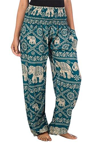Lofbaz Mujer Elefantes Impresión Smocked Cintura Boho Pantalones Verde Trullo M