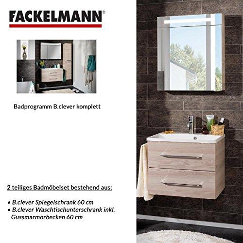 Fackelmann Badmöbel Set B.Clever 2-tlg. 60 cm esche mit Waschtisch Unterschrank inkl. Gussmarmorbecken & LED Spiegelschrank