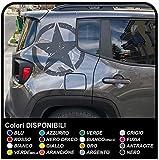 Adesivi per Montante Posteriore Jeep Renegade Stella Militare US Army Effetto Consumato Versione Stella Grande (Antracite)