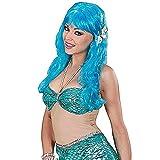 WIDMANN Meerjungfrau mit Muscheln - türkis Perücke für Haarschmuck Fasching
