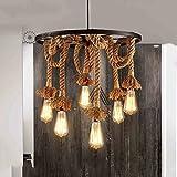Hanf Seil Kronleuchter Anhänger Licht Decke Lampe 6 Lampenfassung, E27 Lampe Vintage Edison SeilDeckenleuchte (keine Birne)
