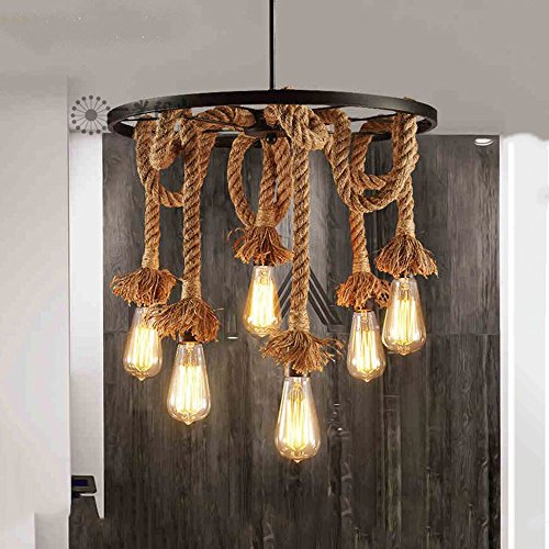 Hanf Seil Kronleuchter Anhänger Licht Decke Lampe 6 Lampenfassung, E27 Lampe Vintage Edison SeilDeckenleuchte (keine Birne) -