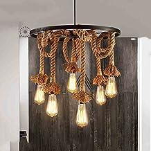 Cuerda del cáñamo de la lámpara, luz pendiente, lámpara de techo, marrón del casquillo E27 6 de la lámpara, estilo retro industrial, decoración exterior Restaurante (Sin bombilla)