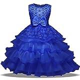 OBEEII Vestido Elegante de Niña Vestidos Midi Multicapa Ropa Verano Disfraz de princesa para Boda Madrina Fiesta Ceremonia Comunión Cumpleaños Carnaval Baile Noche Prom 3-4 años Azul